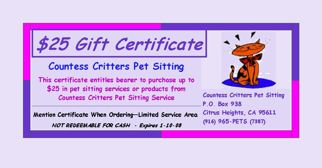 Gift Certificates – Wording for Gift Certificates